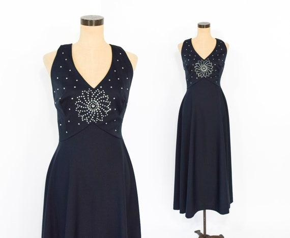 60s Rhinestone Dress   Black Starburst Halter Even