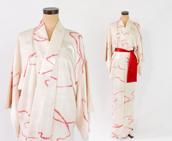 1940s Ivory Silk Long Kimono   Japanese Kimono Jac
