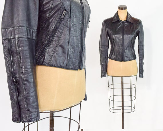 1990s Black Leather Moto Jacket | 90s Black Leathe