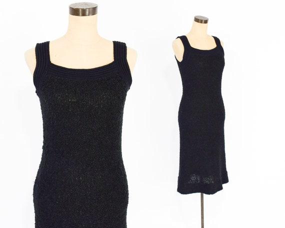 70s Knit Dress | Black Wool Knit Sleeveless Dress