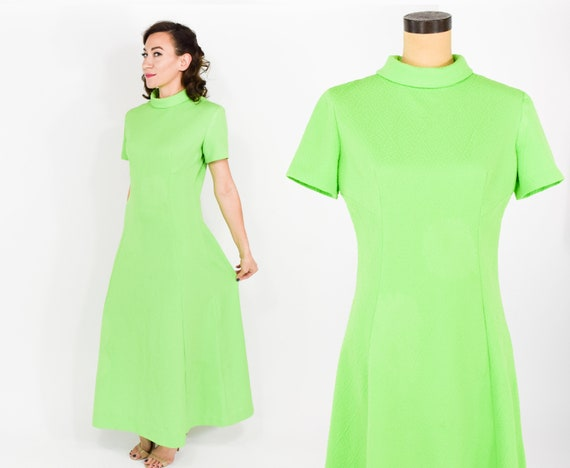 1970s Lime Green Dress | 70s Textured Bright Green