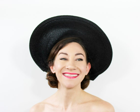 1950s Black Sun Hat | 50s Black Straw Wide Brim Ha