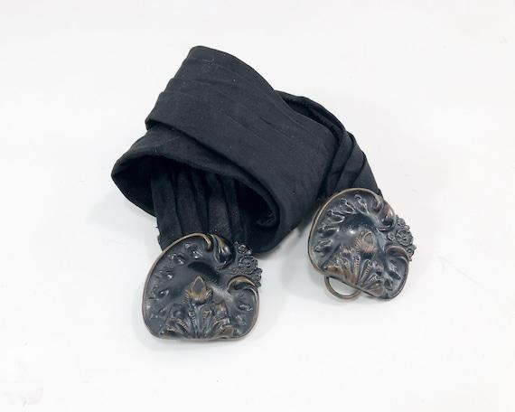 30s Silk Belt | 1930s Art Deco Black Floral Brass