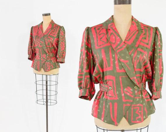 1980s Print Blouse | 80s Red Tan Geometric Print W