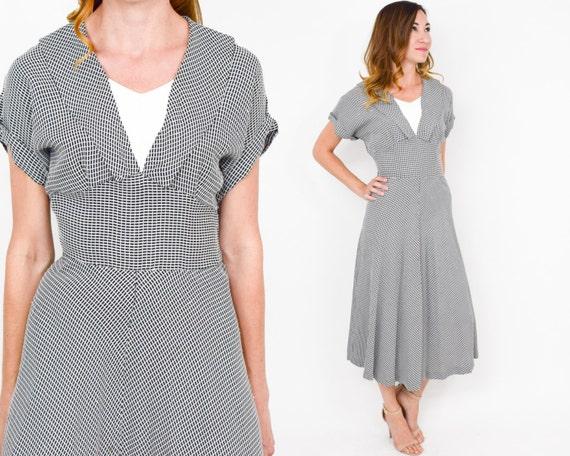 40s Day Dress | Black & White Check Print Rayon Da