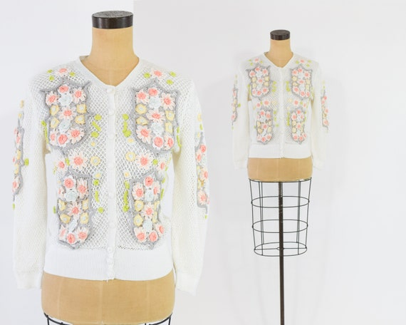 1960s Floral Cardigan Sweater | Pink Floral Embroi