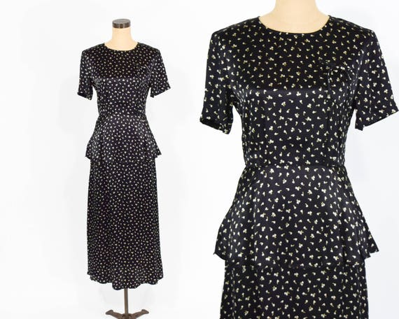 90s Floral Peplum Dress | 40s Style Maxi Dress, Sm