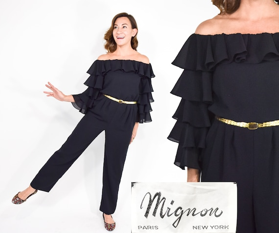 1970s Mignon Black Jumpsuit   70s Black Chiffon Ru