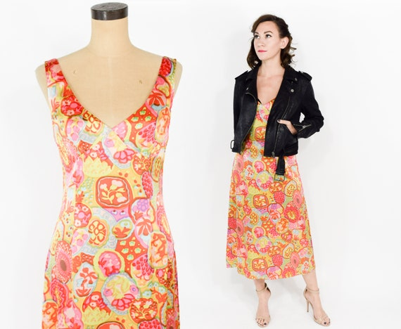 1990s Nanette Lepore Dress | 90s Orange Pink Flora