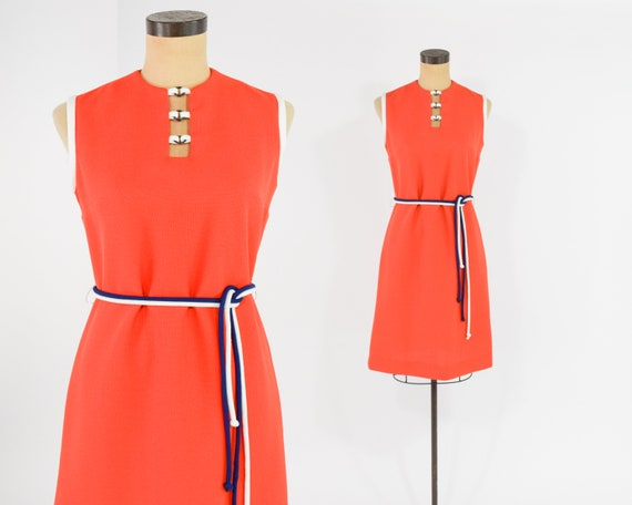 1960s Orange Shift Dress   Mod Sleeveless Shift Dr