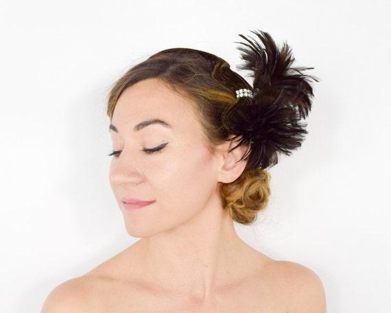 40s Feather Fascinator | Brown Velvet Feather & Rh
