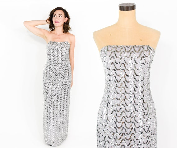 1970s Silver Sequin Dress | Strapless Metallic Col