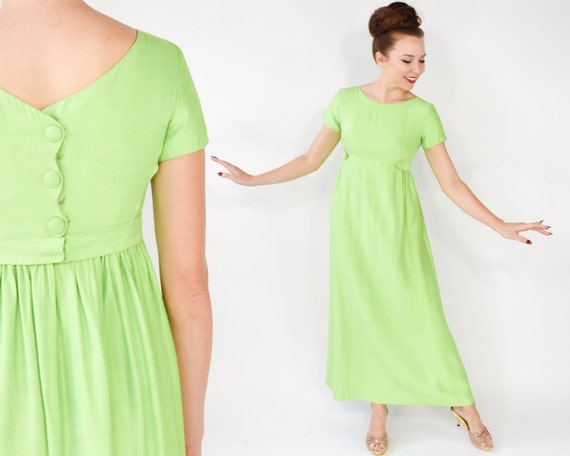 Emma Domb Dress 60s Lime Green Silk Long Evening Prom Party Etsy
