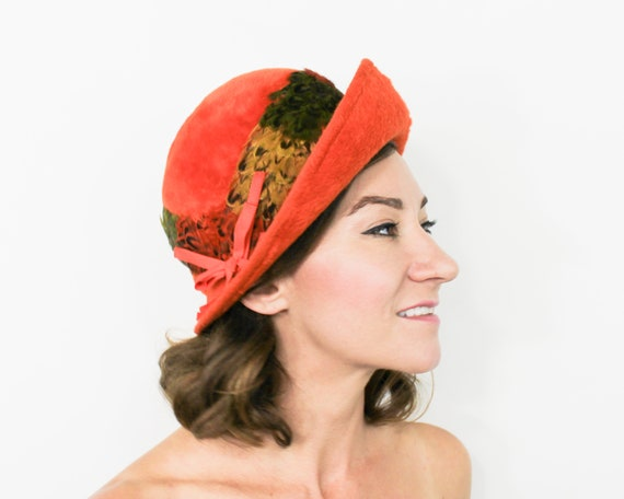 1960s Orange Feather Hat | 60s Mohair Wool Feather