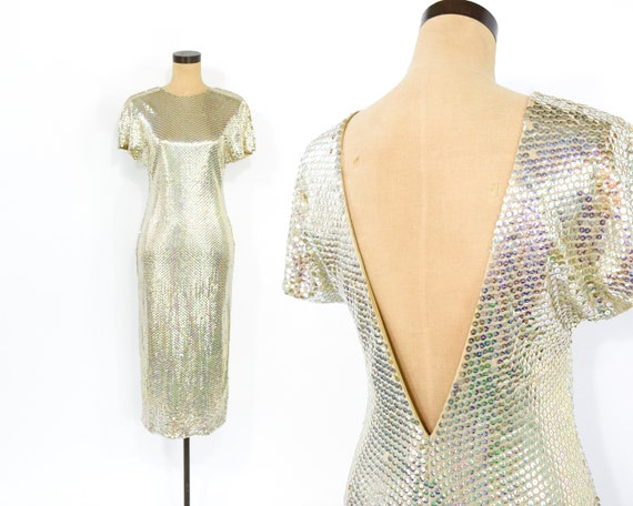 1970s Gold Sequin Dress | Metallic Nude Gold Sequi