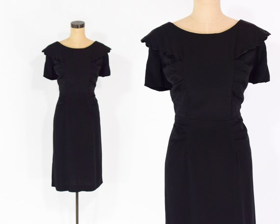 40s Black Party Dress Silk Crepe Short Sleeve Wiggle Dress Etsy