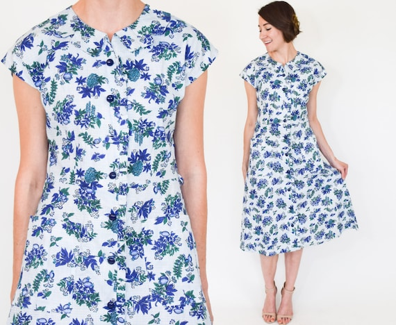 60s Floral Dress | Blue White Petite Floral Print