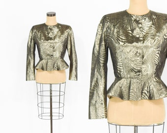 50s Peplum Blouse | Metallic Gold Lurex Fitted Top Jacket | Medium