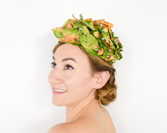 50s Floral Hat | Green Velvet Leaves Flower Pillbo