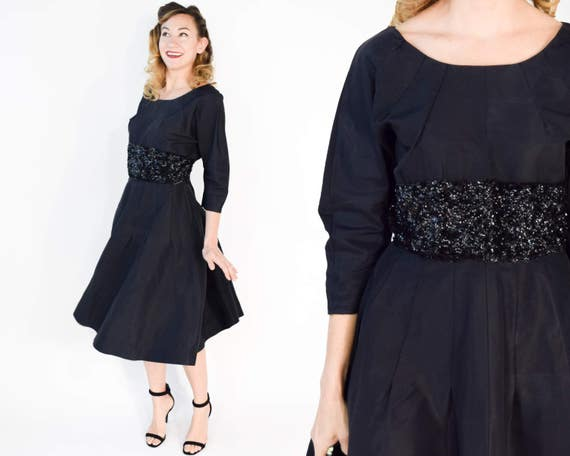 1950s Black Sequin Party Dress | New Look Black Sa
