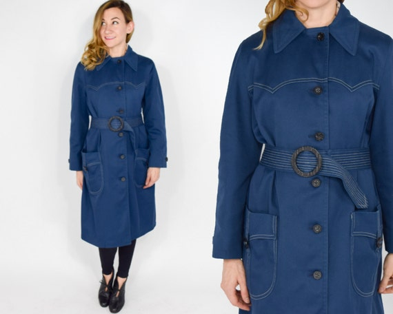1960s Navy Trench Coat | Belted Long Navy Blue Rai