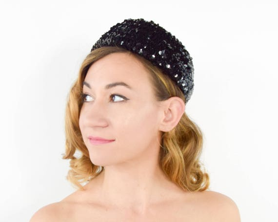 60s Black Sequin Hat | Sequin Pillbox Hat