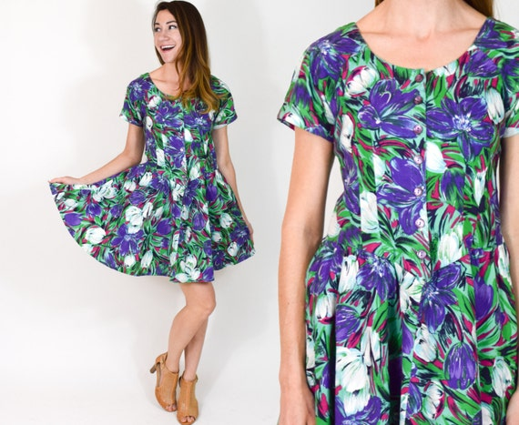 80s Green Floral Dress | Tropical Print Mini Summe