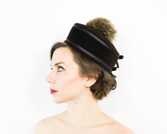 60s Pillbox Hat | Brown Feather & Wool Felt Mod Ha
