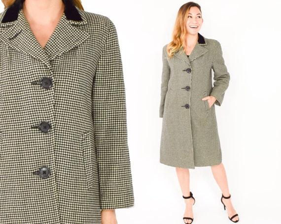 1940s Grey Wool Coat | 40s Black White Houndstooth