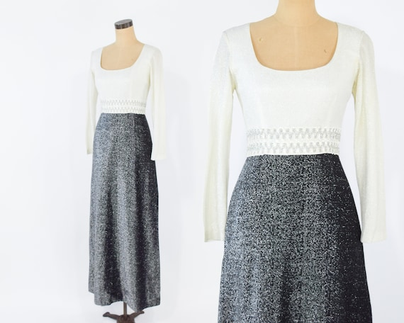 70s Party Dress | Metallic White & Silver Long Eve