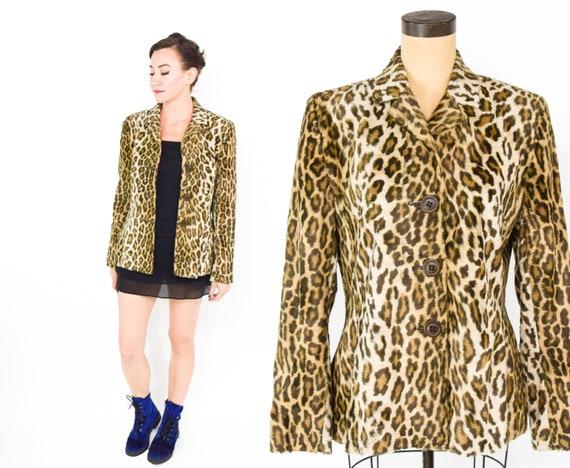 1990s Leopard Animal Print Jacket | 90s Faux Fur A