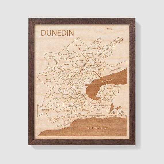Dunedin Map New Zealand Neighborhood Art Personalized Gift Etsy