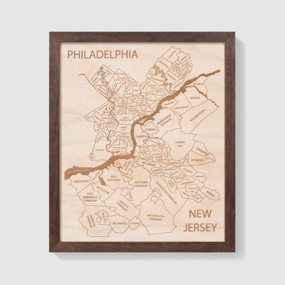 Philadelphia New Jersey Map Engraved Wood Map Customized Etsy