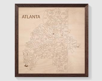 Atlanta Map Wall Art, Atlanta Wall Art Neighborhoods, City Art Atlanta Georgia, Atlanta Gifts for Guys, Custom Gift For Girlfriend