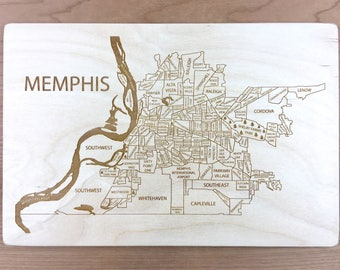 Memphis Tennessee Engraved Wood Neighborhood Map - Laser Puzzle Framed Gift Custom Maps