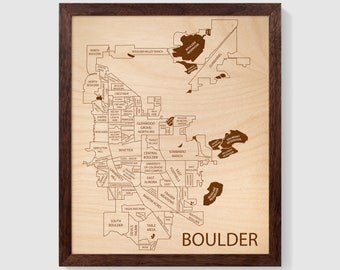 Boulder Map - Customizable Colorado Engraved Wood Art - 12x10