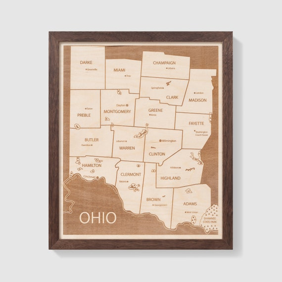 Southwestern Ohio Map.Southwest Ohio Map Engraved Wood Map Customizable Gift Etsy