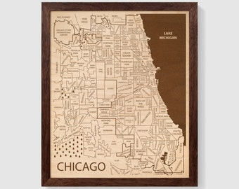 Chicago Area Neighborhood Wall Art, Wood Art City, Chicago Map Framed, Wood Map Chicago Illinois, Personalized Wood Gifts, Custom Map Art