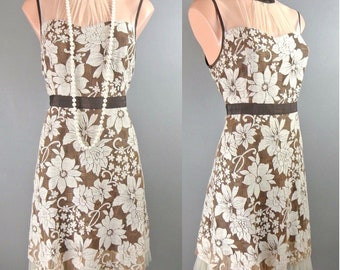 62a3a92128427 Ryu By Anthropologie Floral Dress L Brown Cream Lace Sheer Cocktail Formal  1022