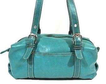 a29c640eb1 Tignanello Vintage Classic Green Leather Satchel Handbag Purse Medium  1008