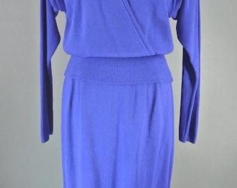 44761edf4278 St JOHN Royal Blue Knit Ladies 2pc Sweater Dress Set Formal M  1008
