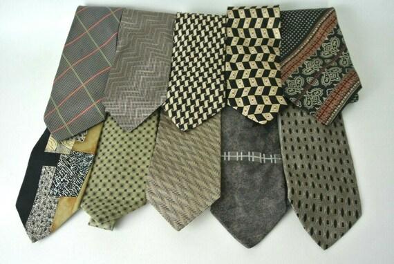 10 lot Men's Brown Dress Neck Ties Vintage Designe