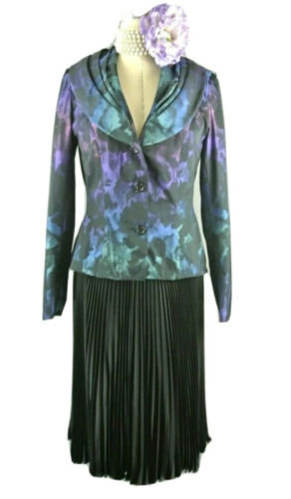 Weise Blue 2pc Skirt Suit Set Tie Dye pleated skir