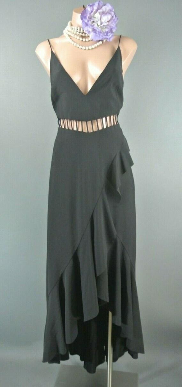 Free People Black Maxi Dress 6 Solid Boho chick Ru
