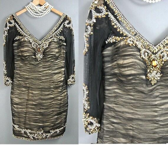 Terani Couture Beaded Cocktail Dress 6/S Black/Gol