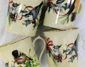 Lenox Winter Greeting Porcelain Bird Mugs by Catherine McClung, Set of 4 in Excellent condition. Gift for Nature Bird Lover