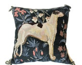 Dog Portrait Needlepoint Pillow with Jacobean floral Background and Green Velvet Back. Tapestry Dog Pillow Vintage Textiles
