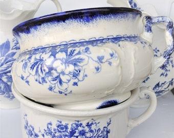 Antique French Ironstone Blue White Water Jug Chamber Pot Blue White Transferware Chrysanthemum Flowers, French Brocante Decor