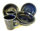 Fiesta Cobalt Blue Soup Cereal Bowl Plates Set of 4 Ceramic Dish Set with 2 Mugs Homer Laughlin HLC