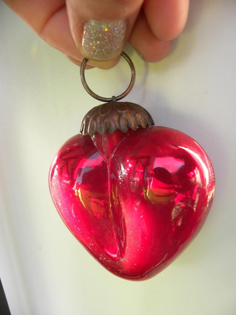 Glass Heart Ornament Ex Voto Red Heart Ornament Heart Glass Ornament German Kugel Mercury Glass Ornament